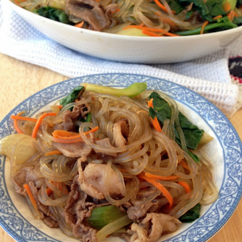 Delicious Beef Jap Chae, A Korean Glassy Noodle Stir Fry