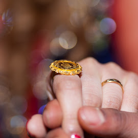 Bride and groom holding hands by Faisal Enam - Wedding Bride & Groom ( wedding ring, nepalese, wedding photography, wedding, indian, gold, indian wedding )