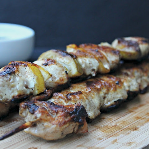 Lemon Lime Souvlaki Chicken Skewers & Tzatziki Sauce