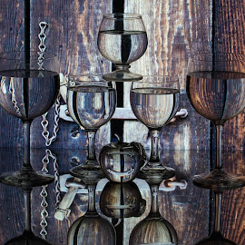 Wooden Gate by Lisa Hendrix - Artistic Objects Other Objects ( reflection, latch, metal, chain, artistic, wine glasses, gate apple, gate, wood. wooden )