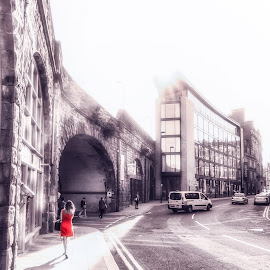 Lady In Red by Adam Lang - City,  Street & Park  Street Scenes ( arch, street, newcastle, red dress, street photography )