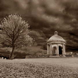 The Temple by Shan  B - Digital Art Places ( temple, hill, sepia, tree, heaton park, manchester )