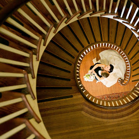 Stairs by Drew Noel - Wedding Bride & Groom ( drew noel photoraphy )