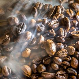 hot coffee beans by Dumitru Doru - Food & Drink Ingredients ( fresh, food, beans, coffee, hot, restaurant, morning, coffee shop )