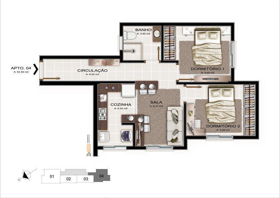 Apartamento de 2 dormitórios em Nossa Senhora Do Rosário, Santa Maria - RS