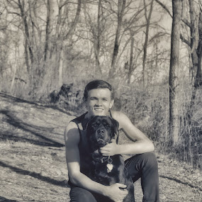 A dog and her boy by Kelly Bowers - Animals - Dogs Portraits ( rottweiler family protection compassion love hope future dream )
