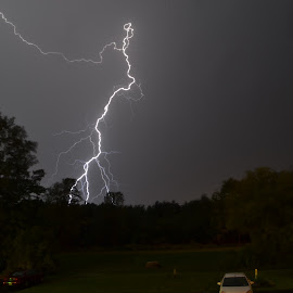 Close strike! by Thomas Fitzrandolph - Landscapes Weather ( lightning, nikon d3100, niagara county ny, weather, storms, lockport ny )
