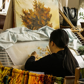 Embroidery Artist by Dee Haun - People Professional People ( 070423c696e3, at work, artist, professional people, people, embroidery, china )