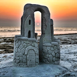 Through the Castle by Lorna Littrell - Landscapes Sunsets & Sunrises ( waterscape, sunset, beach, sandcastle )