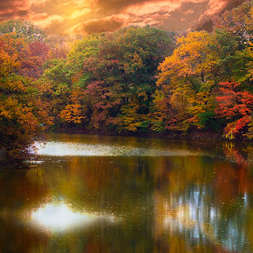 Fall Colors by Sandra Hilton Wagner - Landscapes Waterscapes ( clouds, fall foliage, creek, trees, reflections, sun rays,  )