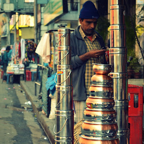 A vendor at a street side stall by Rima Biswas - City,  Street & Park  Markets & Shops ( pwcmarkets )