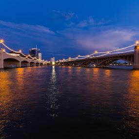 Sundown on Mill by Jim Moon - Buildings & Architecture Bridges & Suspended Structures ( water, tempe az, whisper river photography, twilight, jim moon, bridges, mill ave, river, bridge,  )