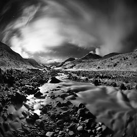 Kizil-kol by Александр Агабабаев - Black & White Landscapes ( clouds, mountains, night, long exposure, river )