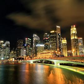 All night long... by Ina Herliana Koswara - City,  Street & Park  Night ( building, night photography, marina bay sand, night, cityscape, singapore, city )