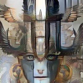 goddess of light by Josiah Hill-meyer - Digital Art Abstract ( abstract, colorful, wings, female face, art, original, lighthouse, goddess, trippy )