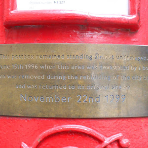 This postbox remained standing almost undamaged on June 15th 1996 when this area was devasted by a bomb The box was removed during the rebuilding of the city centre and was returned to its original ...