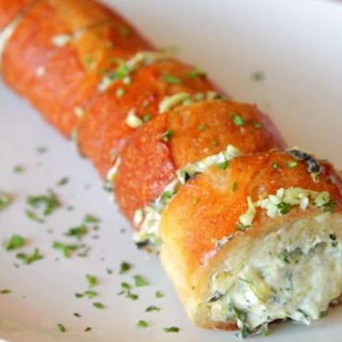 Spinach And Artichoke Stuffed Garlic Bread