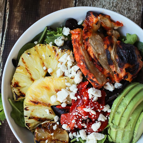 Harissa Lime Grilled Chicken Salad with Creamy Cilantro Lime Vinaigrette