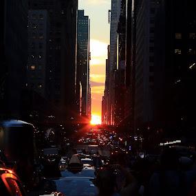 Manhattanhenge by Ram Seth - City,  Street & Park  Street Scenes ( manhattanhenge, sunset, manhattan, nyc, july )