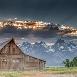 The Moulton Barn by Jeb Buchman - Landscapes Prairies, Meadows & Fields ( clouds, farm, mountain, nature, barn, sunset, meadow, sunrise, landscape, tetons, photography, sun )