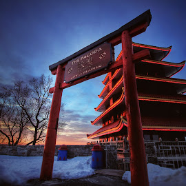 by Steven Maerz - Buildings & Architecture Other Exteriors ( #chinese #pagoda #reading #winter #sunrise )