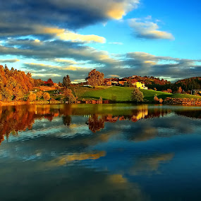 colorful autumn by Bernarda Bizjak - Landscapes Waterscapes ( water reflection, autumn, colors, slovenia, šmartinsko lake, landscape )
