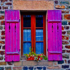 Purple window by Dobrin Anca - Buildings & Architecture Architectural Detail ( wood, purple, window, street, brittany )
