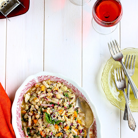 White Bean Veggie Salad with Tangerine Champagne Vinaigrette