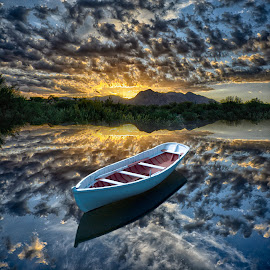 Boat in the sky by Charlie Alolkoy - Digital Art Places ( water, mountain, sunset, lake, boat )