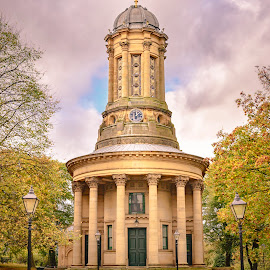 Saltaire Church by Darrell Evans - Buildings & Architecture Places of Worship ( building, old, church, grass, green, stone, worship, cobbles, religion, fence, saltaire united reformed church, saltaire, yorkshire, outdoor, trees )