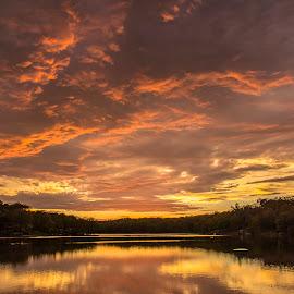 Sundown On Avlon  by Douglas Keck - Landscapes Sunsets & Sunrises ( clouds, sunset, lake, landscape, sun,  )