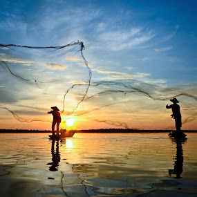 2Net Fishermans by Chanwit Whanset - Landscapes Travel ( fisher, net, fisherman )