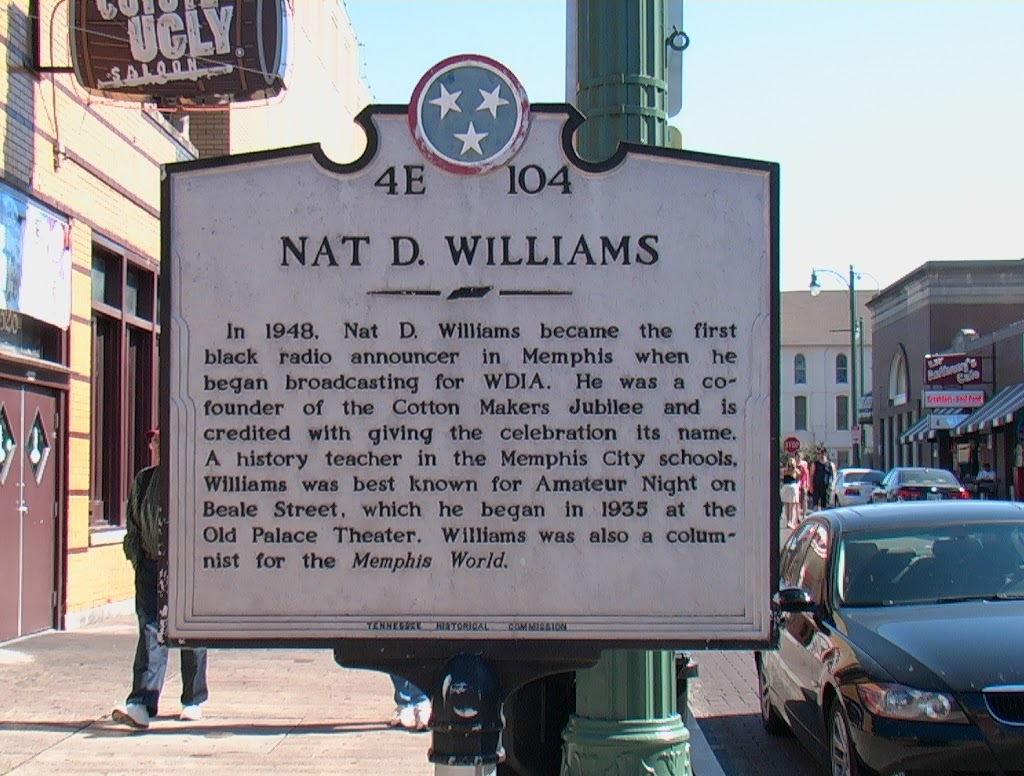 In 1948, Nat D. Williams became the first black radio announcer in Memphis when he began broadcasting for WDIA. He was a co-founder of the Cotton Makers Jubilee and is credited with giving the ...