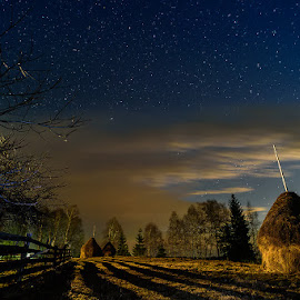 Night at countryside by Ioan Todor - Landscapes Starscapes ( clouds, fence, wooden, sky, night photography, stars, hay stick, trees, long exposure, nightscape )