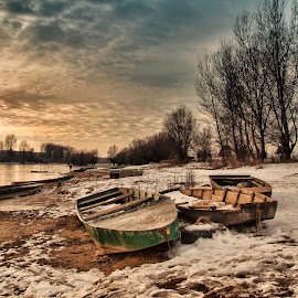 Boats by Maja Tomic - Landscapes Weather ( winter, sunset, snow, boats )