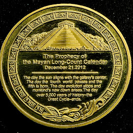 Back side of Myan calander coin by Dave Walters - Typography Quotes & Sentences ( macro, myan, lumix fz2500, coin, coin gold )