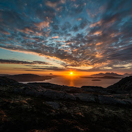 Sunset by Trond Svendsen - Landscapes Sunsets & Sunrises ( #helgeland, #islands, #vistnorway, #sunset, #summer, clouds )