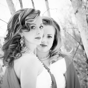 these two brides by Tine Butler - Wedding Bride ( model, brides, crisp air, white, frost, beauty, photography, fantasy, weddingbells, red, winter, rock the frock, manitoba photographer, tine butler, fog, wedding, magical, brideal session, tine butler photography, fairy-tale, heaven and earth )