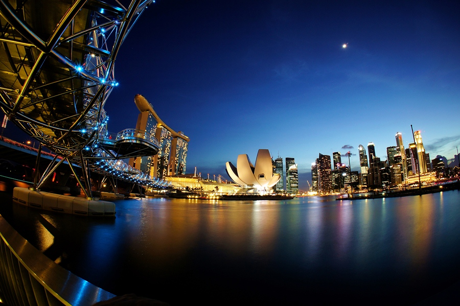 After sunset at Marina bay by Barry Allan - City,  Street & Park  Vistas ( helix bridge, marina bay, singapore )