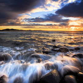 After the Sunrise by Lloyd Seeber - Landscapes Beaches ( sky, rocks, beach, clouds, long exposure )