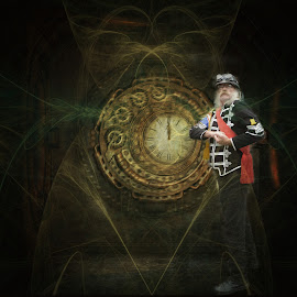time traveler by Kathleen Devai - Digital Art People ( fantasy, uniform, clock, steampunk, man, portrait )
