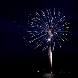 Blue Feathers by Rob Andzik - Public Holidays July 4th ( exposure, reflection, 4th of july, fireworks, night )