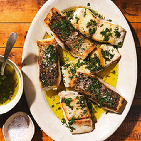 Salmoriglio Sauce with Striped Bass