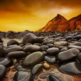 by Mark Leader - Landscapes Beaches ( shore, hills, art, devon, canvas, pebbles, beach, rock pool, storm, print, coast, decor, wall art, north devon, sky )