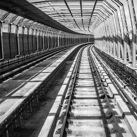 Railway Track II by Hussien Mullar - Black & White Buildings & Architecture ( b&w, trsnaportation, railway, black and white, mass transit, train, mrt, tunnel )