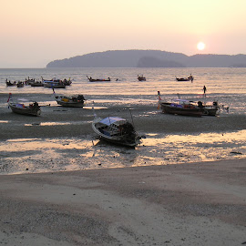 Krabi by Jim Devonshire - Landscapes Beaches ( sunset, boats, thailand, beach low tide )