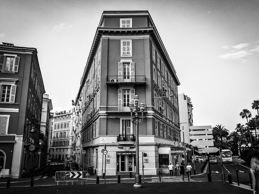 Nice France by Mike Hotovy - Black & White Buildings & Architecture