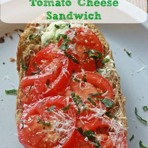 Open Faced Tomato Cheese Sandwich