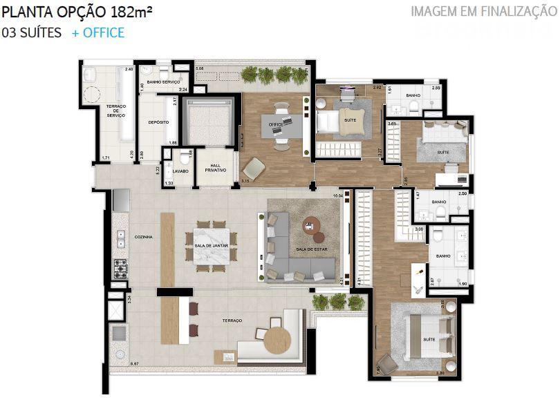 Plana 182 m² do 2 ao 18 Pavimento Finais 1 e 2 Opção + Office