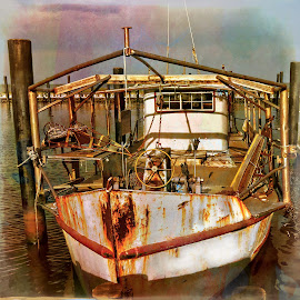 Oyster boat at rest by Peggy McFarland - Transportation Boats ( gulf coast, oyster, working man, rusty, rust bucket, fishing village, oyster barg )